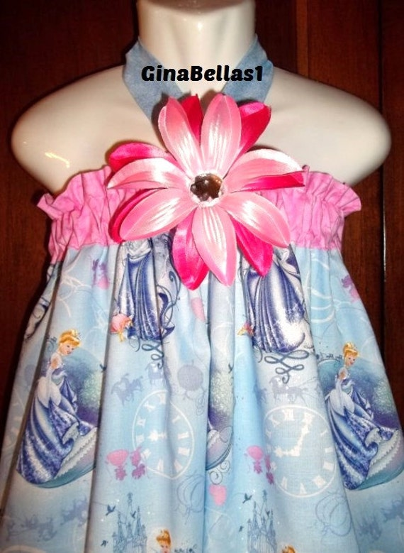 Disney outfit Cinderella girl dress Princess costume Birthday Party Bow Halter pink bow Ready to Ship size 3 / 4  3t 4t toddler ONLY