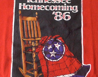 Vintage 1986 80s Tennessee Homecoming Red T-Shirt