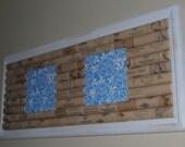 Wine Cork Board with Blue Flower Tiles OOAK