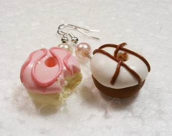 Donut Earrings.  Polymer Clay.