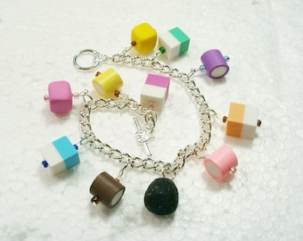 Dolly Mixtures Bracelet.  Polymer clay.