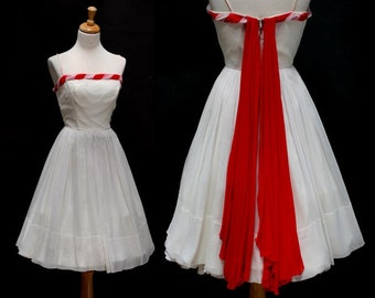 White and Red Chiffon Party Dress