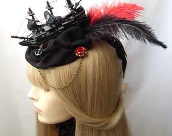 Ghost Ship Rococo pirate ship headdress headpiece black red hat