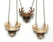 Nerd Deer Necklace - Handmade - laser cut - laser cut jewelry - jewelry