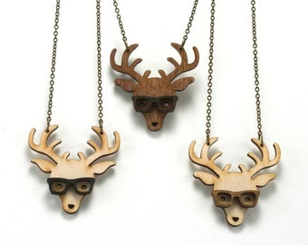 Nerd Deer Necklace - Handmade - laser cut - laser cut jewelry - jewelry