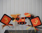 Construction Truck Birthday Centerpiece Table Decorations (set of 5) - Black, Orange & Yellow or Your Choice Of Colors - Change Age of Child