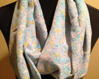 New Long Floral Print Infinity Scarf, Blue, Green, Yellow, White and Pink