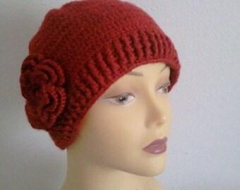 Womens Beret Beanie Hat, Autumn Red Beanie Hat