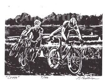 Cross -Original Linocut Cyclocross racing at Ninkrossi
