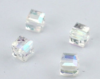 10pcs 8mm Clear AB Crystal Glass Cube spacer Beads for jewelry making