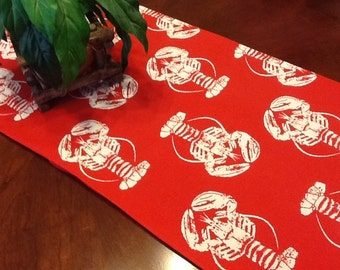 Table Runner - Red and White Lobster Table Runners - Red Lobster Table Runner For Weddings or Home Decor - Select A Size