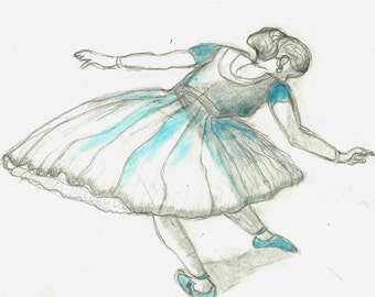 Ballerina Original Art Study Mixed Media Drawing after Edgar Degas