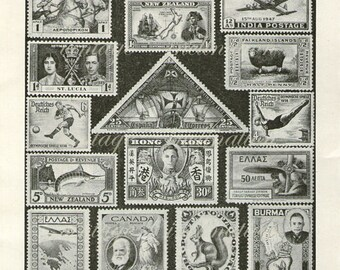 1930 INTERNATIONAL STAMPS Antique Print, book page, vintage offset lithograph, continents philatelic UK royals europe