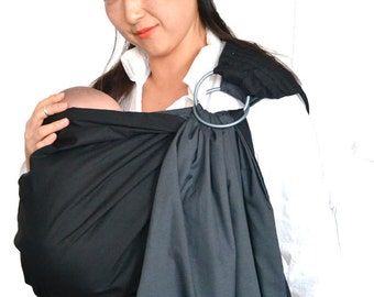 Baby Sling Ring Sling Baby Carrier  2 Layers of High Quality 100% Cotton Of Dark Grey And Black - w/ DVD