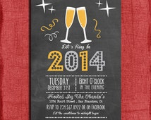 Printable Chalk style New Year's Eve  Party Invitation -DIY