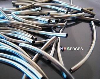 Finding - 10 pcs Silver Brass Curve Arc Tubes 50mm x 3mm ( Fit for 2mm Round Leather )