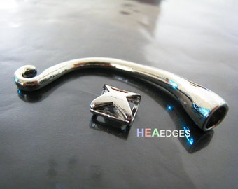 1 Set Silver End Caps - Finding Silver End Cap Long S Hook Toggle Clasp Clousure Fastener with Eye Lock for Leather Cord 54mm Length