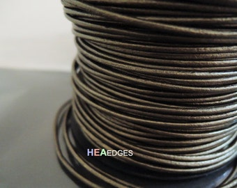 2 Yards of 2mm Metallic Gold Brown Round Genuine Leather Cord