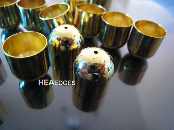 4pcs Gold End Caps 11mm - Findings Gold Plated Large Leather Cord Ends Cap without Loop 13mm x 12mm