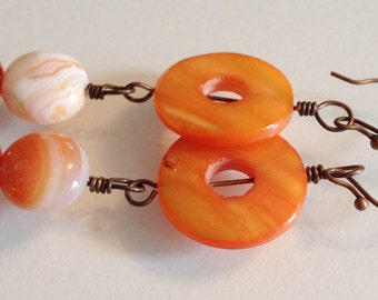 Bright Orange Doughnut Shell with Creamy Smooth Orange Agate and Fiery Orange Glass Beaded Earrings Handmade