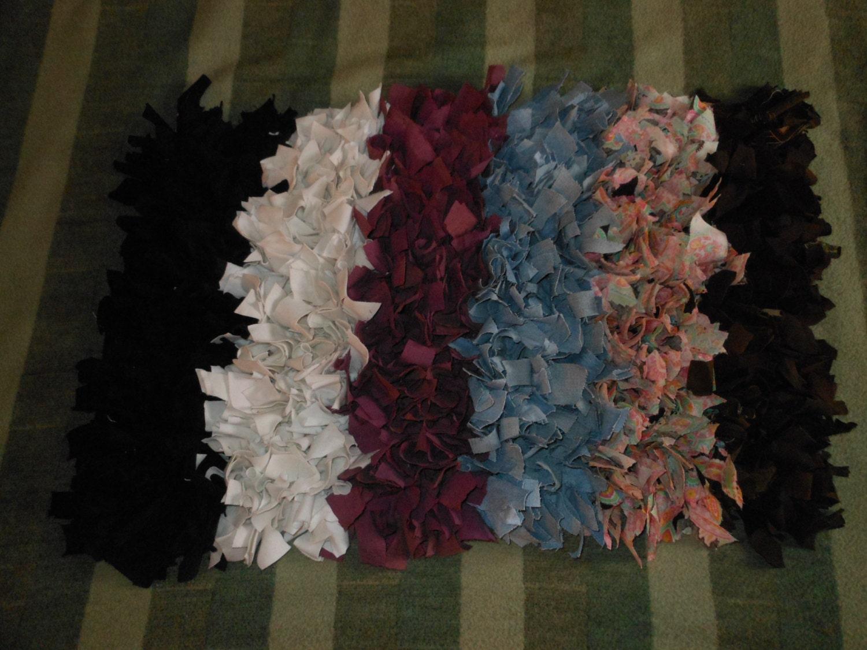 Recycled T Shirt Cotton Shag Rag Rug Black White Pink