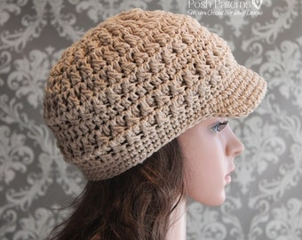 Crochet PATTERN - Crochet Newsboy Hat Pattern - Crochet Hat Pattern - Crochet Patterns Women - Includes 6 Sizes Newborn to Adult - PDF 358