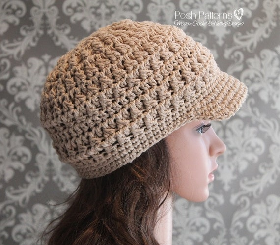 Crochet PATTERN Crochet Newsboy Hat Pattern by PoshPatterns