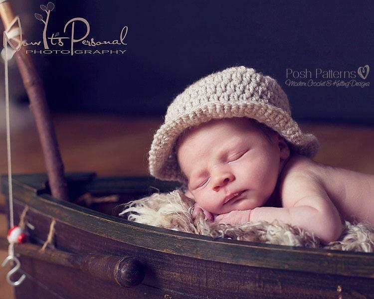Crochet pattern baby fishing hat fisherman hat crochet for Toddler fishing hat