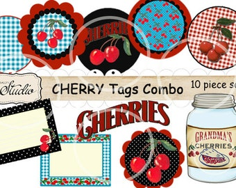 Retro Cherries SVG,Digital Tag Set, Round Tags, gift Tags, Mason Jar Label - Toppers, Scrapbook clip art, craft supplies, digital collage