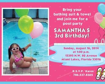 Pool Party Birthday INVITATION Printed or Digital/DIY Printable File