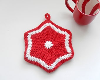 Red and white crochet potholder, handmade kitchen accessories in white and red cotton,moder kitchen decor READY TO SHIP