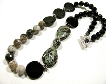 Earthy necklace, Snakeskin Jasper with Fire Agate and black Onyx, Sterling Silver, beaded necklace gemstones 063