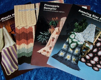 Lot 4 Beautiful Crochet AFGHAN PATTERN BOOKS by jao Enterprises. Amazing Star Afghans,Mile A Minute Violets,Pineapple Sampler & Double Quick