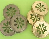 Gold Daisy Cut Mason Jar Lids…12 ct.  Your choice Pewter or Gold Weddings Birthdays Mason Jar Paper Straws