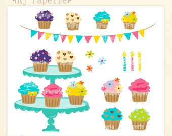 Cupcake Clip art,  scrapbooking ,Tea party clip art, tea pot clip art, bakery, cupcakes clip art,instant download