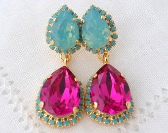 Hot pink fuchsia and mint pacific opal Crystal Chandelier earrings, Drop earrings, Dangle earrings, Bridal earrings, Weddings jewelry