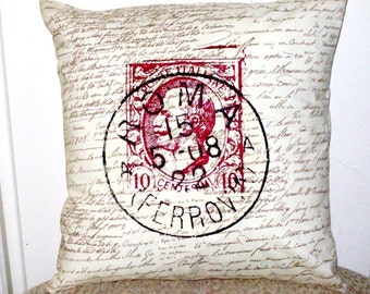 """shabby chic, feed sack, french country, vintage Roman  postmark graphic on black and creme script print 14"""" x 14"""" pillow sham."""