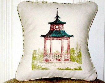 """shabby chic, feed sack, french country, vintage pagoda graphic with toile welting  14"""" x 14"""" pillow sham."""