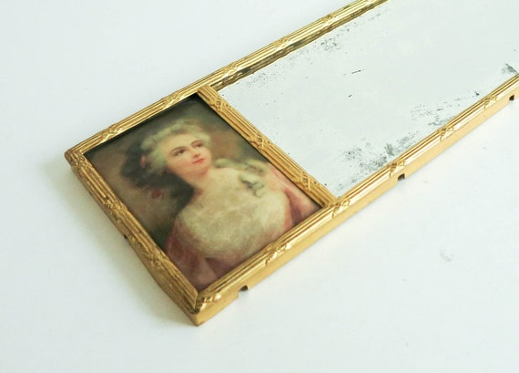 Elegant long antique mirror portraits of two women by for Long antique mirror