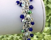 Cobalt and Green Shaggy Beaded Bracelet - Ready to Ship