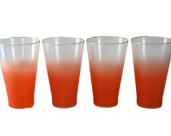 Set of 4 Vintage Orange Ombre Glasses