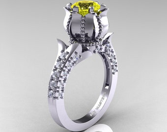 Classic 14K White Gold 1.0 Ct Yellow Sapphire Diamond Solitaire Wedding Ring R410-14KWGDYS