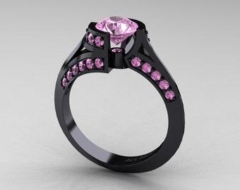 Modern French 14K Black Gold 1.0 Ct Light Pink Sapphire Engagement Ring Wedding Ring R376-14KBGLPS