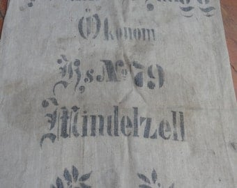 Antique GERMAN grain sack, Both side printed, linen, handwoven, Antique Original !!
