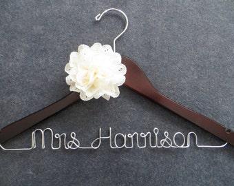 RUSH ORDER - Ivory Flower Bridal Hanger - Personalized Bride Hanger - Customized Hanger - Shower Gift - Wedding Dress Hanger - Name Hanger