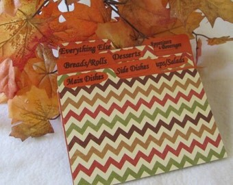 Recipe Card Dividers for Autumn Chevron Recipe Box - Shower Gift