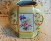 SALE  Vintage Hand Painted PASCO Vase with Yellow Gold and Floral Accents