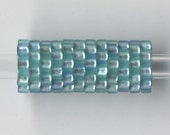 Woven Glass Bead Tube 6mm/o-2mm/i Mint.green-Sky.blue ... ... ... ... ... ... ... ... 12x08 ... ... ... ... (11-10-276)*