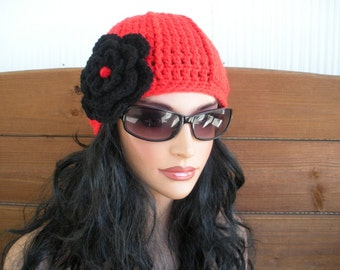 Womens Hat Crochet Hat Winter Fashion Accessories Women Beanie Hat Cloche in Cherry Red with Black Crochet Flower