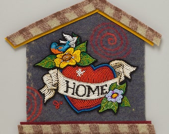 Heart -from  the Meanings of HOME collection of bead and fiber art